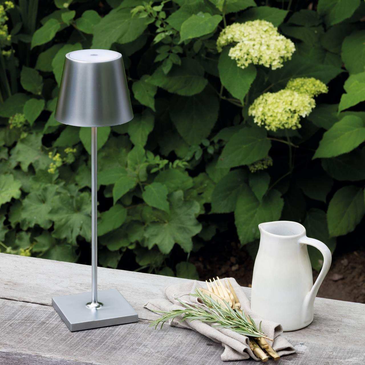 LED Akku Tischleuchte Outdoor Indoor silber